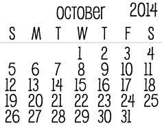 October 2014 Calendar Printable & Template http://www