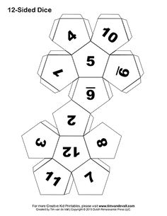 12 sided dice, Dice and Templates on Pinterest