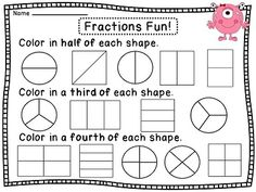 NEW 431 FRACTION WORKSHEETS ON HALVES AND QUARTERS