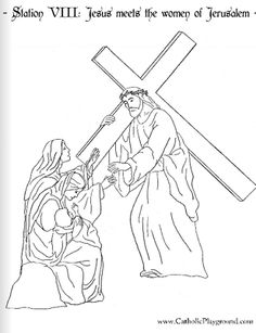 Coloring page for the Fourth Station of the Cross: Jesus