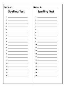 Blank spelling test template for 20 words. Two strips to a