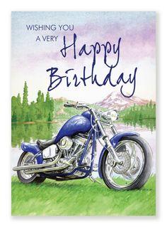 Funny Biker Riding Motorcycle Ride Happy Birthday Card