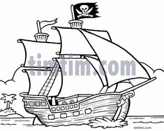 Pirate ship pattern. Use the printable outline for crafts