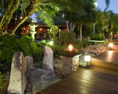 Garden Dramatic Garden Design With Lighting Decoration Interior