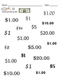Special Education Next Dollar Up and Dollar Color-In Money