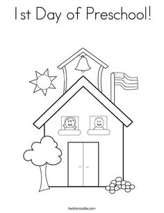 1st Day of Preschool Coloring Page from TwistyNoodle.com
