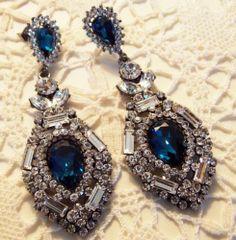 Navy Blue Valentines 20s Chandelier Earrings Made With Swarovski Crystal Ebay