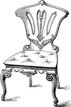 Victorian furniture clip art, vintage couch set, living