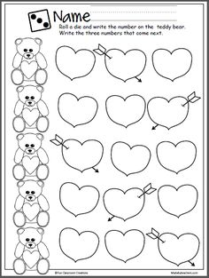 Write the missing numbers from 1-20 on this Valentine's