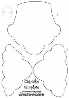 Cupcake pattern. Use the printable outline for crafts