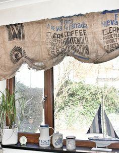 Upcycled Burlap Coffee Bean Bag Curtains Rehabulous