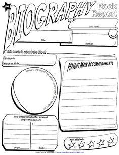 Biography Book Report Newspaper: templates, printable