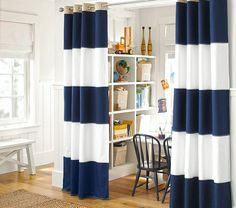 Whale Blue And White Polyester Curtains For Blackout Two Panels