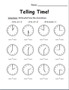 1000+ images about Math-Telling Time on Pinterest