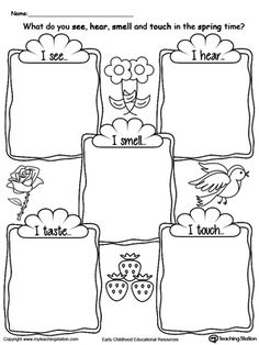5 Senses Words Worksheet and more worksheetplace.com