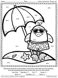Color the Coloring Clown picture using addition! Color