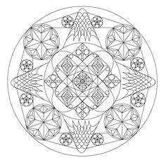 Free Mandala coloring page, representing a Dragon. To