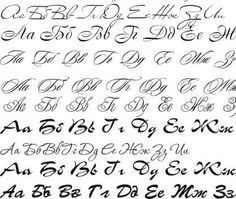 The Macedonian alphabet, rendered in a cursive script