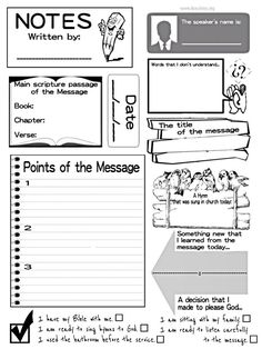 These free printable sermon notes pages include a Sunday