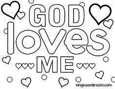 God Loves Me Coloring Pages Printable, Preschool Valentine