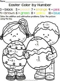 math coloring worksheet addition for easter