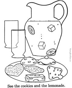 Printable Junk Food Burger And Drink Coloring Page For