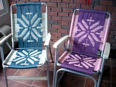 webbed folding lawn chairs stryker stair chair manual pair retro vtg vintage aluminum web strap patio lounge |
