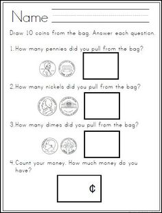Check out this printable money counting worksheet! Super