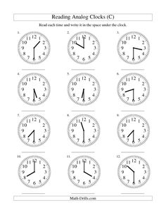 Printable Clock Worksheets. Teach kids to tell time and