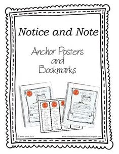 Close Reading Notice and Note.pdf Charts and bookmarks to