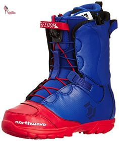 northwave freedom mens super lace boots de snowboard bleu bleu rouge size chaussures