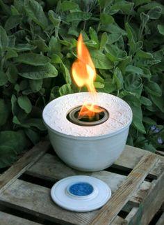 Tischfeuer Feuerschale Feuerstelle Garten Keramik Gartendeko