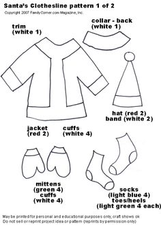 Santa Claus hat pattern. Use the printable outline for