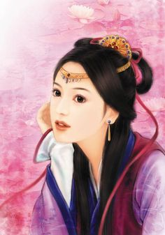 Post Card Art Chinese Hanfu Hairstyle 50 Xi Wei Lucy's Hair