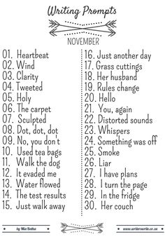 I hope you enjoyed your October and November prompts