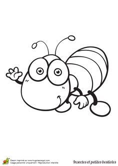 Dessin à colorier insecte et petite bestiole, un papillon