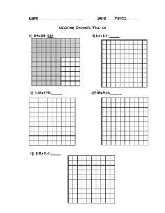 Two-page place value decimal grids for visual