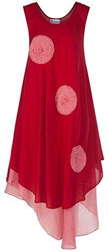 cotton dress color hippie lagenlook boho hobo by degaro nandr red