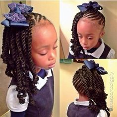 Braided Hairstyle Back View African American Little Girls Black