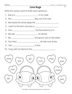 This worksheet have the /ar/ controlled vowel. The student
