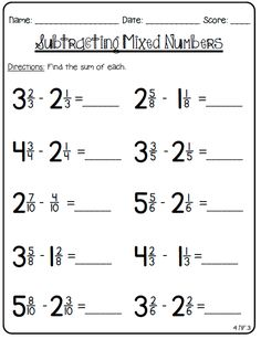 Adding Subtracting Fractions With Like Denominators Sheet