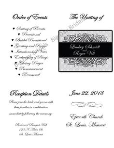 Swirled Tri Fold Wedding Programs Sample in by