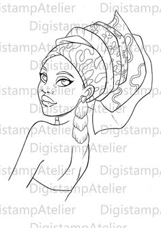 African American Clipart, Black girl, Digital Stamp