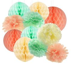 amazon com qians party pcs mint peach cream tissue paper pom pom mint honeycomb
