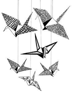 Peace Origami Crane Poster #peace #facesandavatarsforpeace