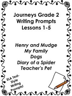 Journeys Grade 2-Writing Prompts Bundle-Lessons 1-30