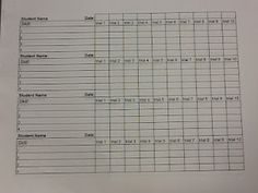 Weekly Data Chart for IEP's, both for behavior and