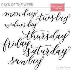 Handwritten days of the week: Monday, Tuesday, Wednesday