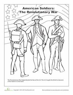 Revoltionary War George Washington and his men Coloring