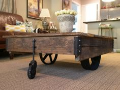 Vintage Industrial Factory Cart Coffee Table Home Decor Factory